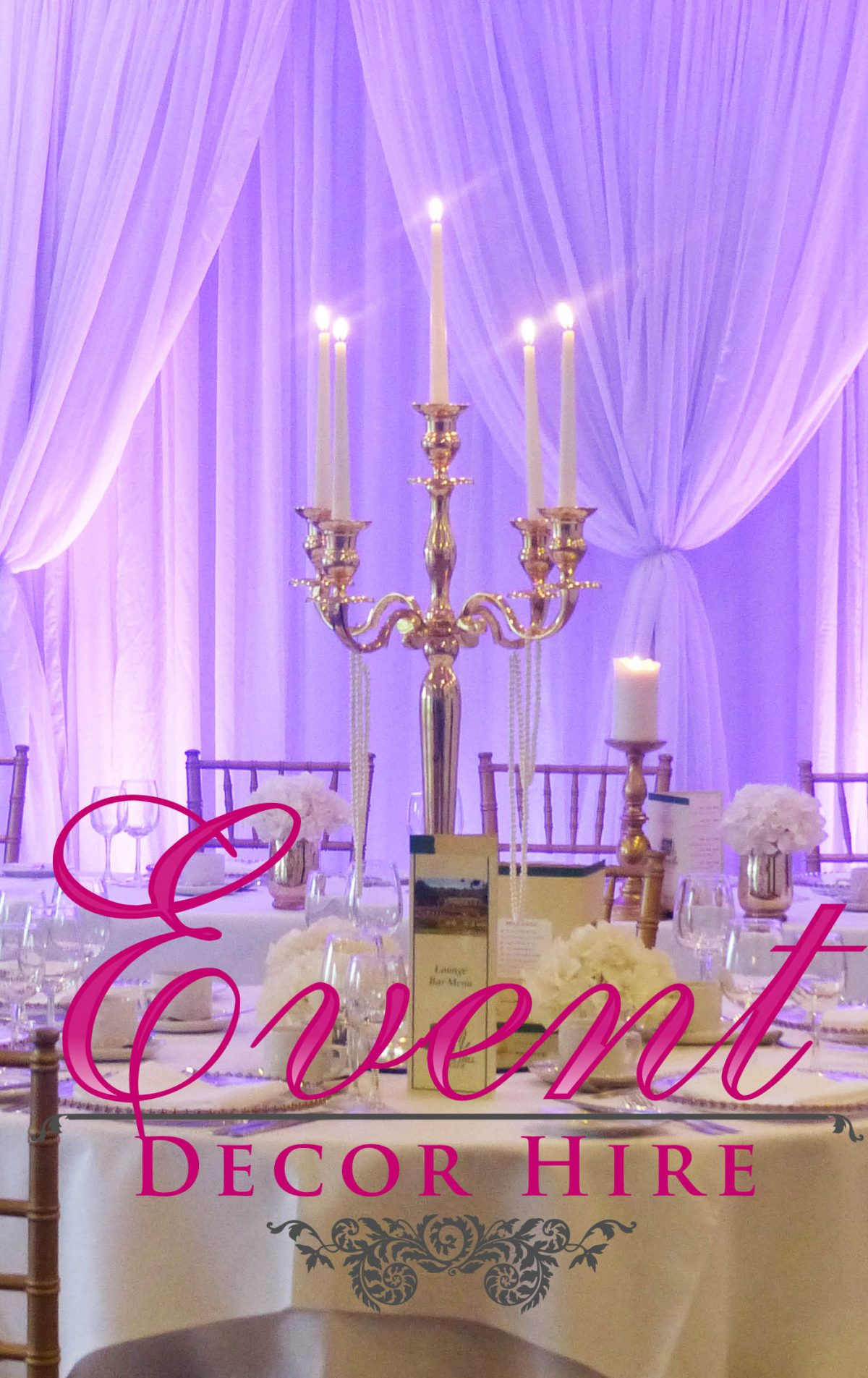 gold candelabra hire
