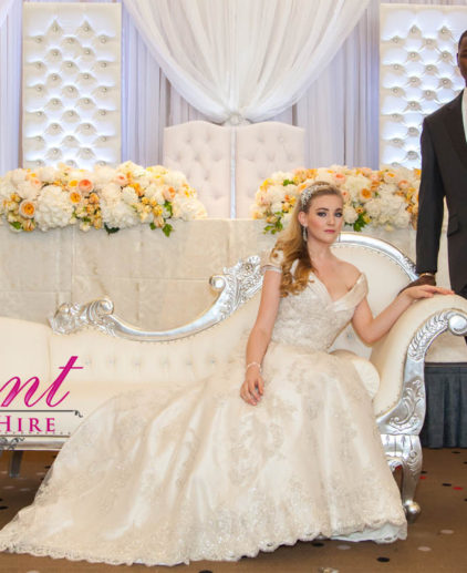 silver wedding sofa