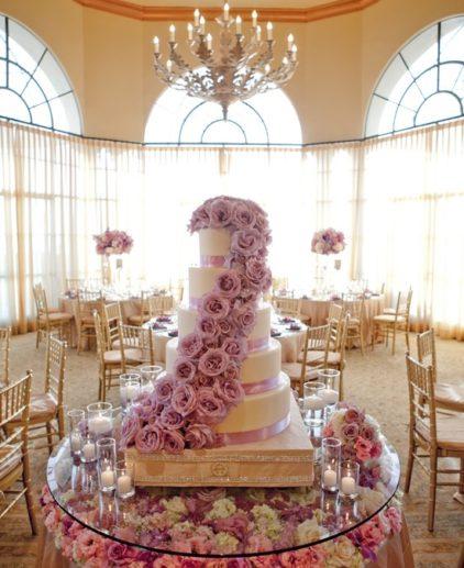 glass cake table