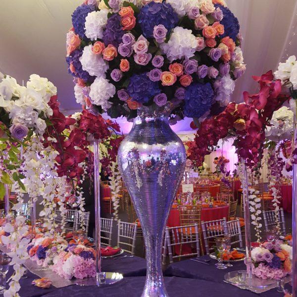 luxury sparkly vase flower silver