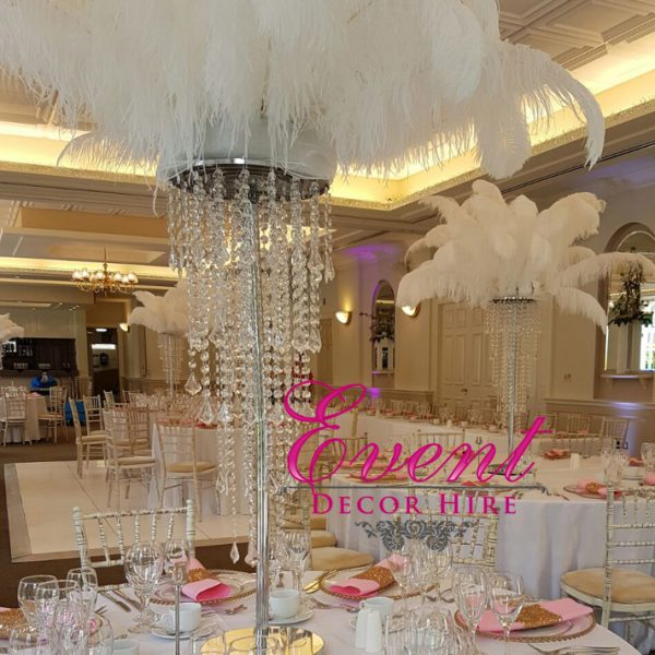 feather chandelier centrepiece