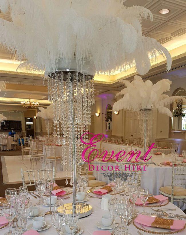 feather chandelier centrepiece