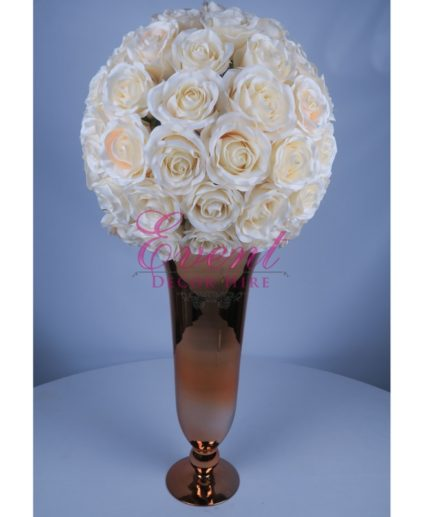 Gold Trumpet vase wedding centrepiece rose ball silk flower