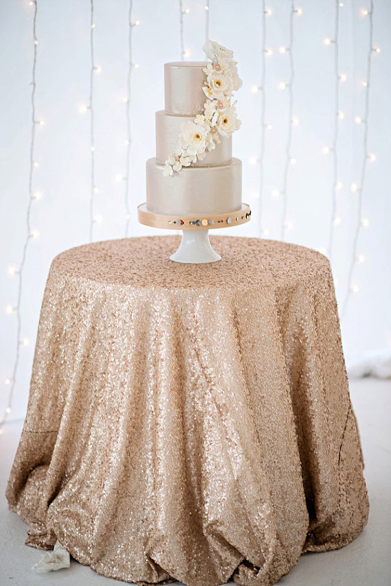 gold sequin cake table cloth
