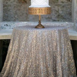 silver sequin cake