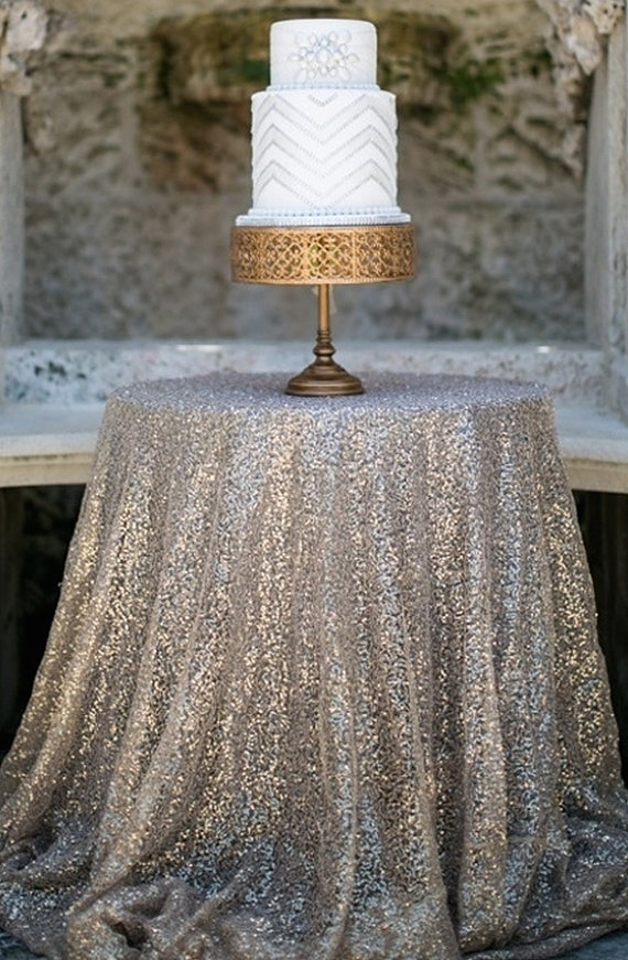 Sequin Cake Table Cloth Silver