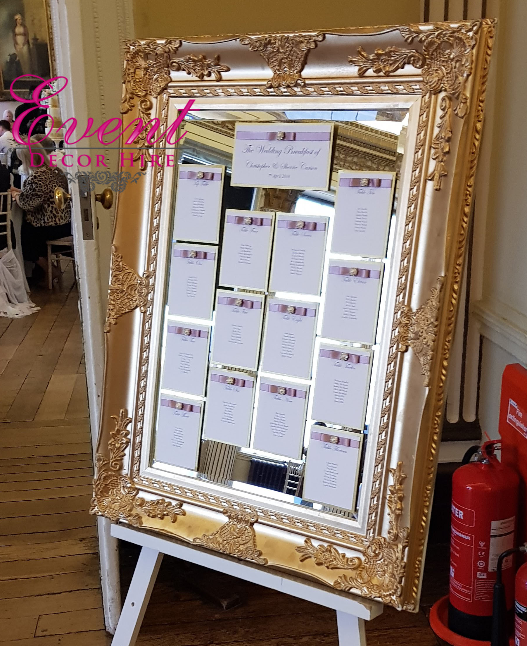 Vintage Wedding Table Plan Ideas: Gold Table Plan Mirror - Event Decor Hire