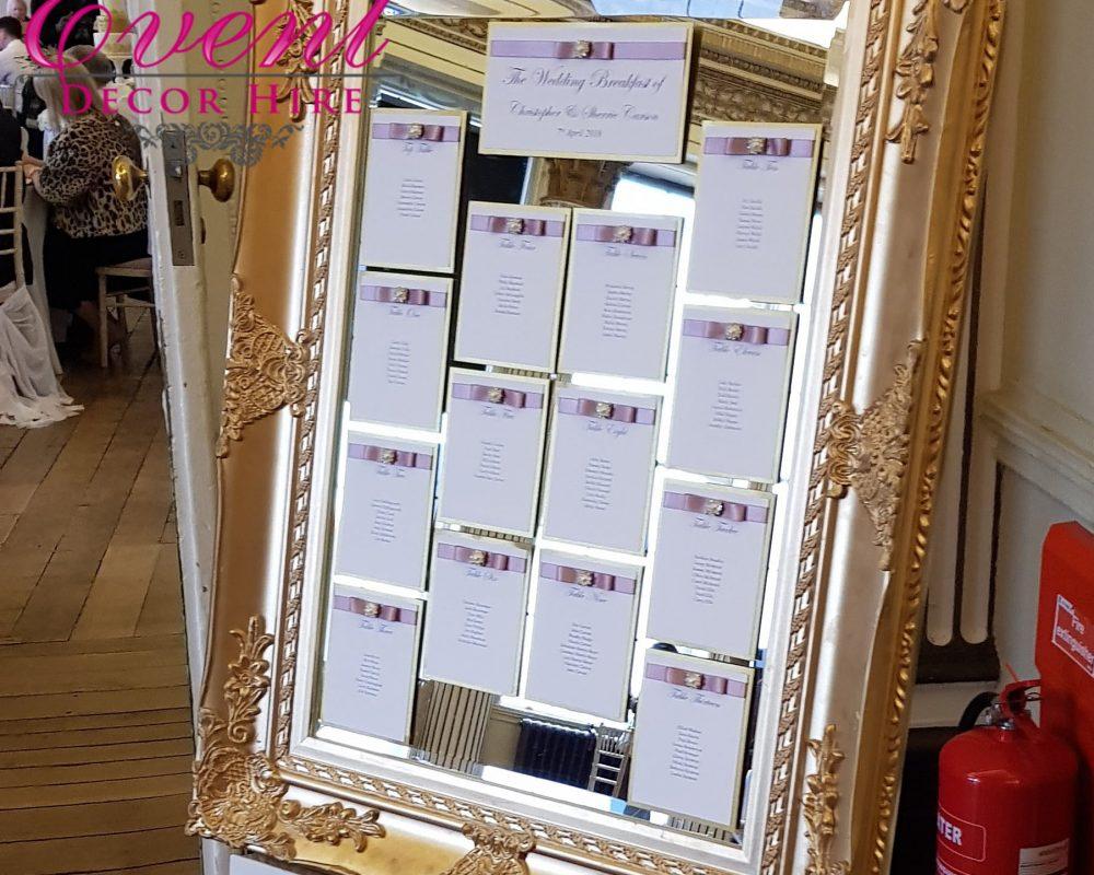 gold table plan mirror