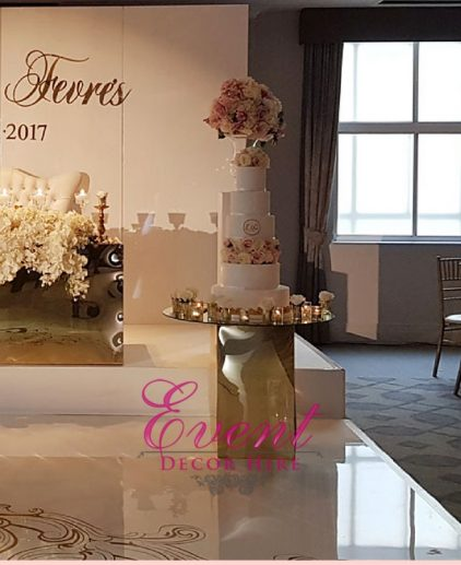 gold mirror cake table