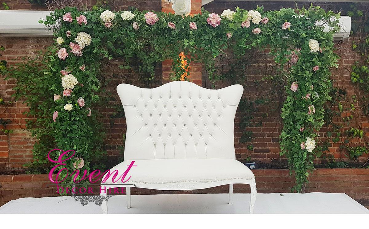 green flower arch way wedding
