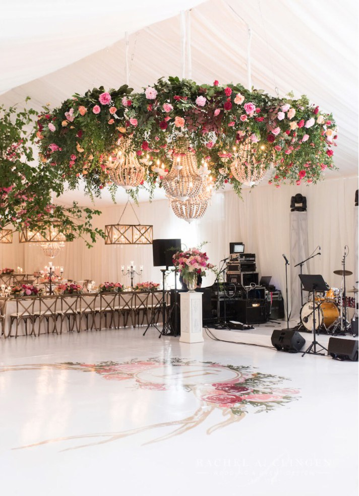 ceiling flowers wedding