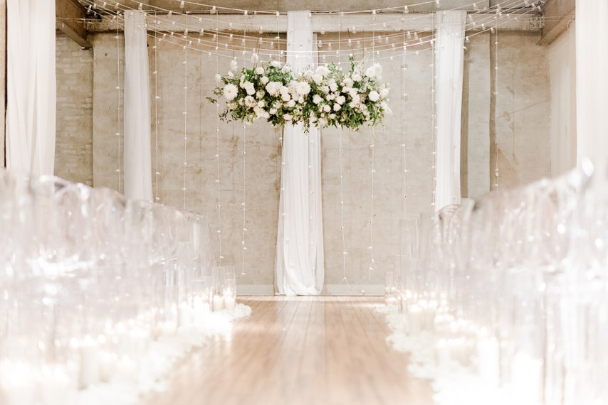 ceremony flower ceiling chandelier