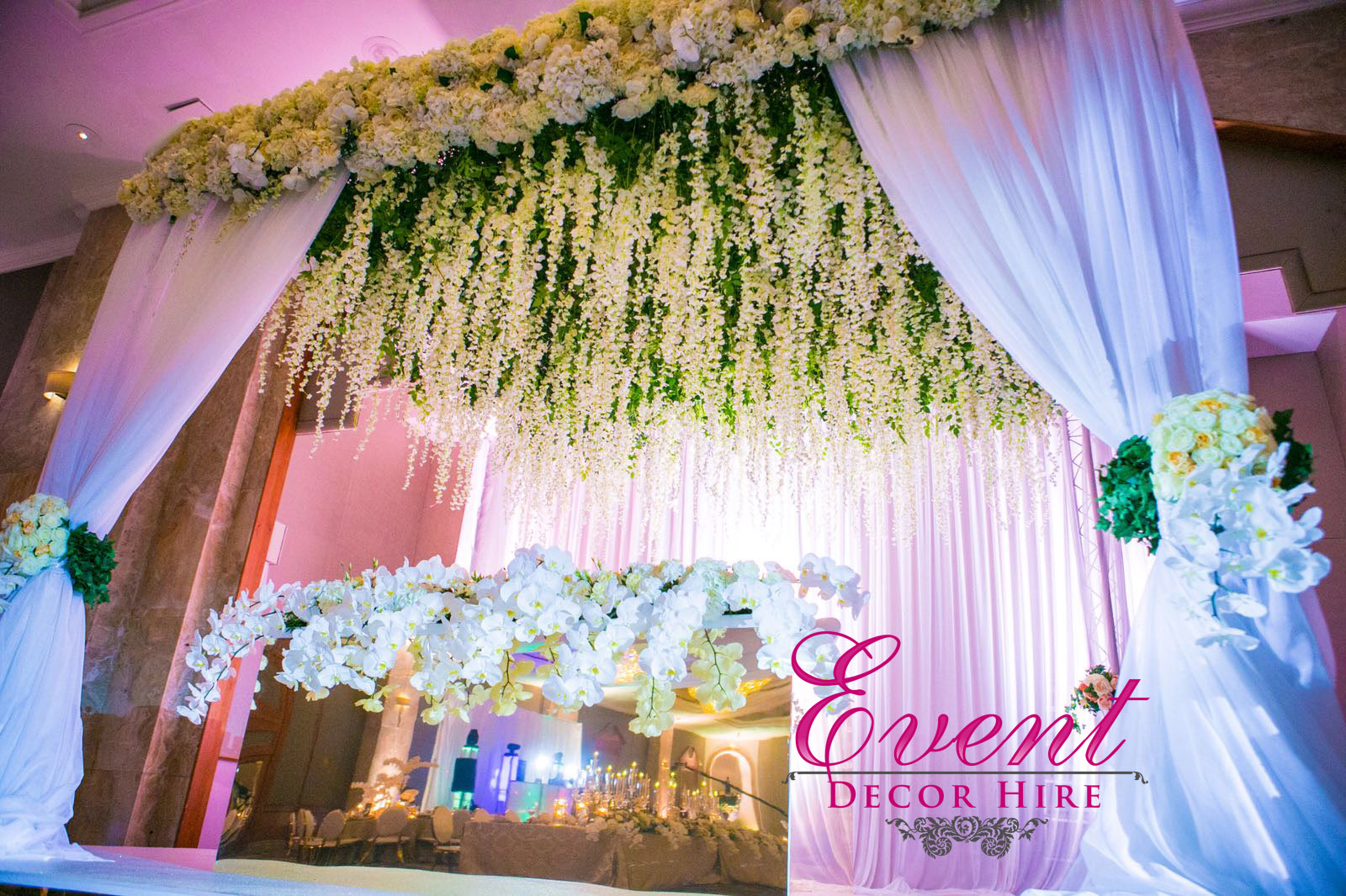 wisteria backdrop design stage mendap