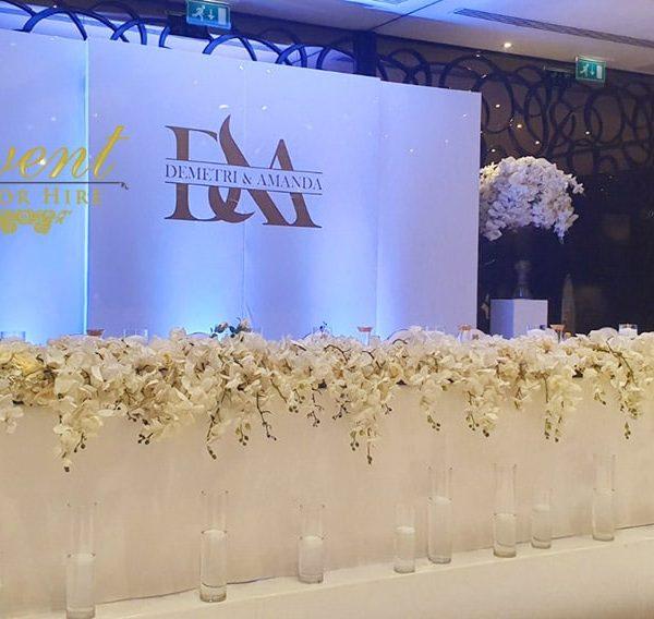 gloss wall backdrop wedding