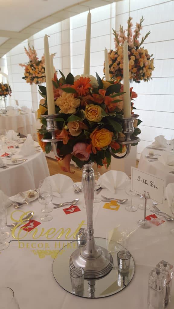 candelabra flowers centrepieces