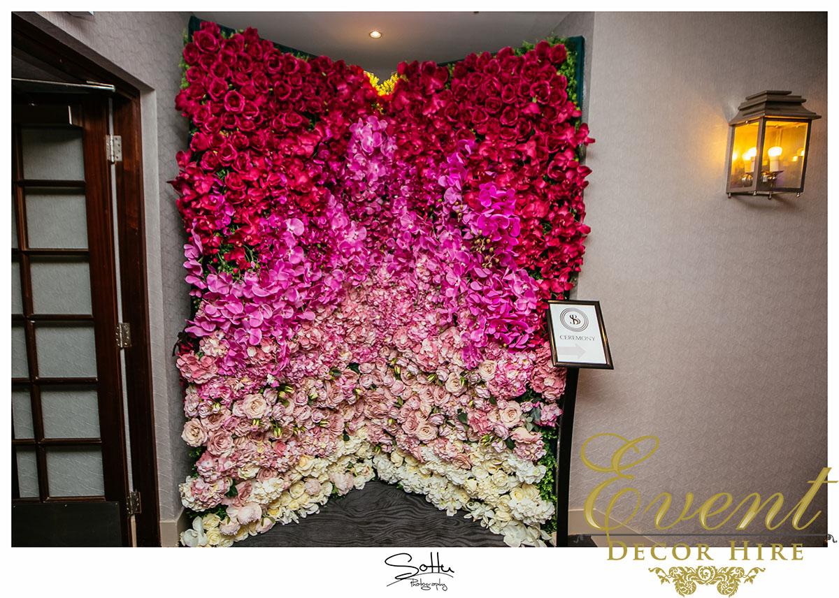 flower wall design ombre