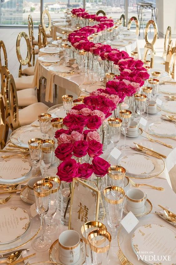 curved table flowers vip