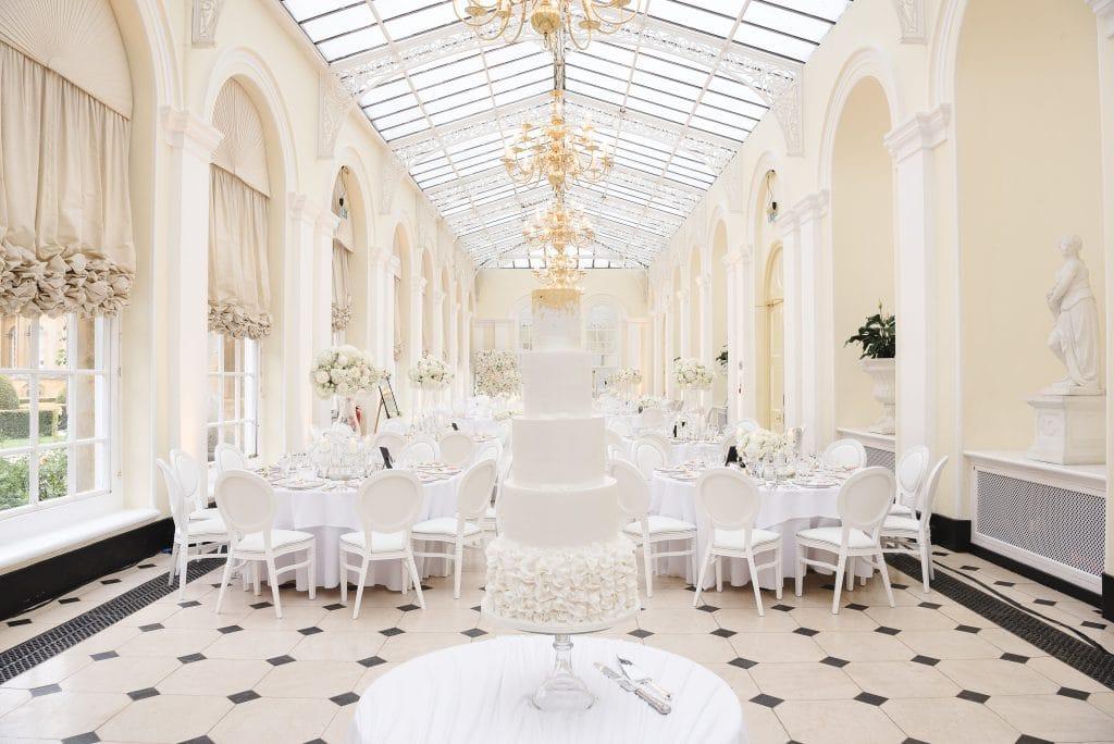 bleieham palace wedding flower wall