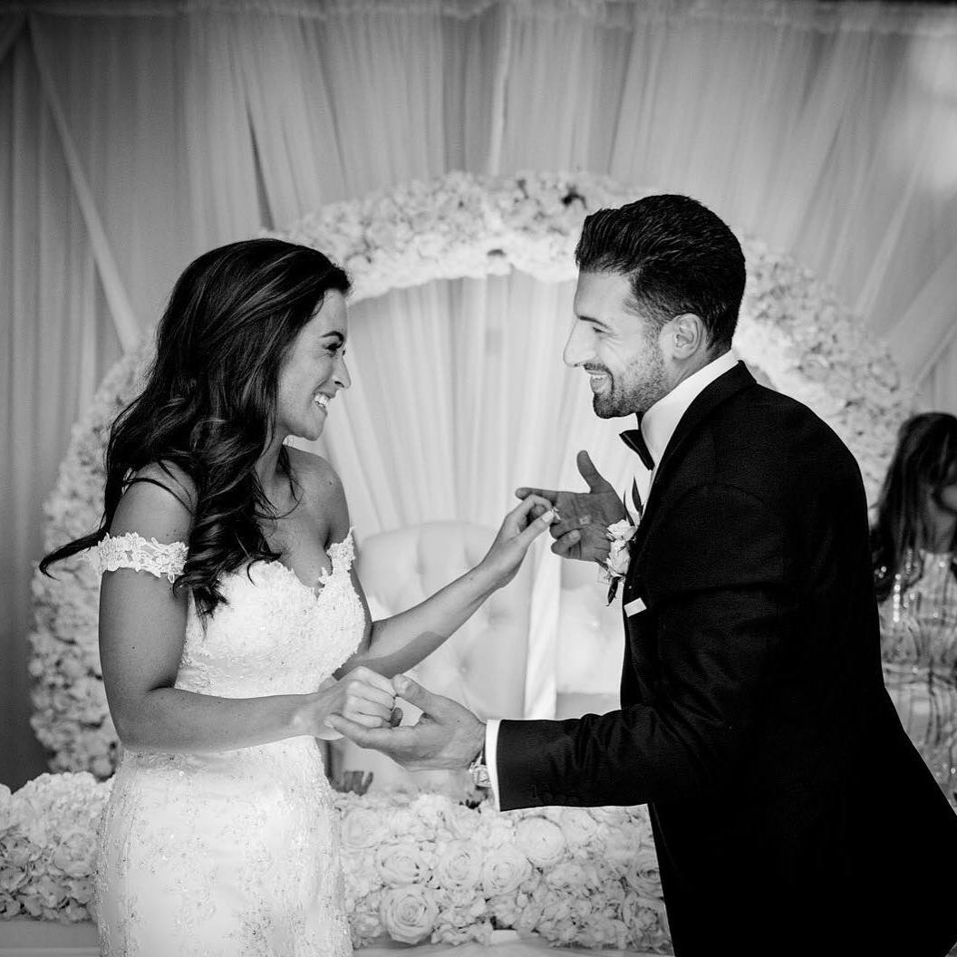 wedding couple arch black and white