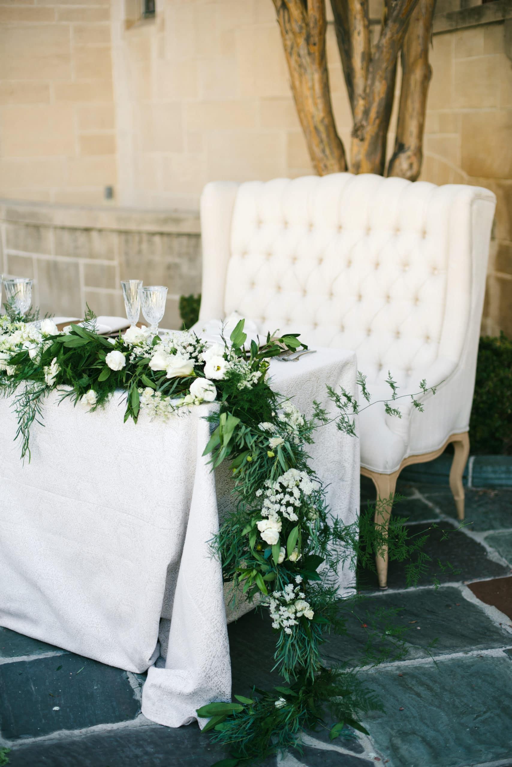 couples sofa sweet heart table