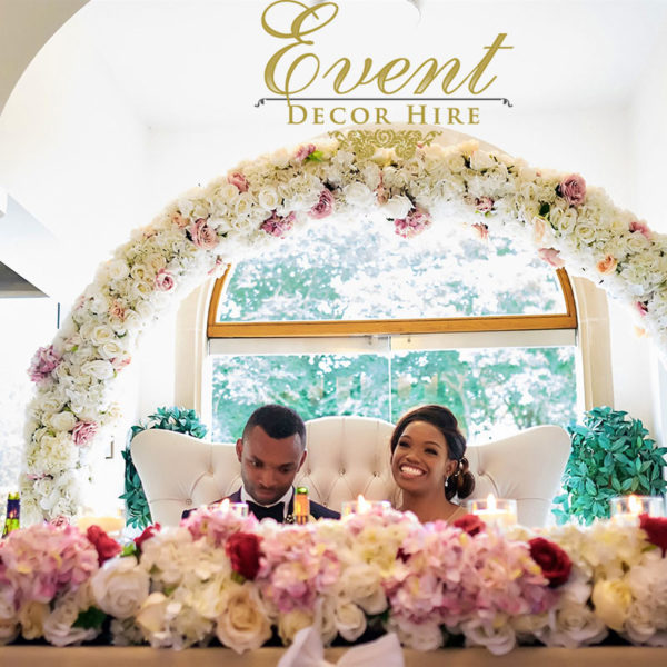 ivory and blush flower arch